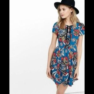 Express Floral Fit And Flare Dress 2